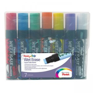 Pentel Wet Erase Liquid Glass & Chalk Marker jumbo tip 7-piece wallet SMW56/7