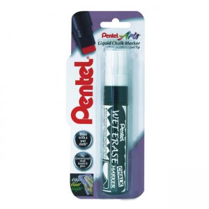 Pentel Wet Erase Liquid Glass & Chalk Marker jumbo tip single blister card XSMW56-W