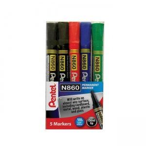 Pentel Chisel Tip Permanent Marker 5-piece wallet YN860/5-M